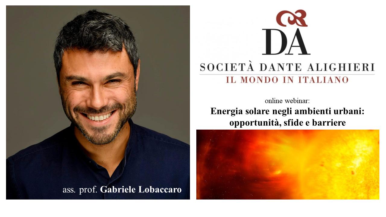 """Dante Alighieri Trondheim e Gabriele Lobaccaro: """"Energia solare negli ambienti urbani: opportunità, sfide e barriere"""""""